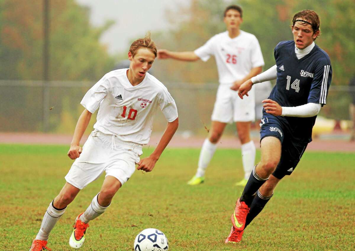 Northwestern's Winter Thorne-Kaneulis dribbles the ball in his team's win over Shepaug Tuesday afternoon.