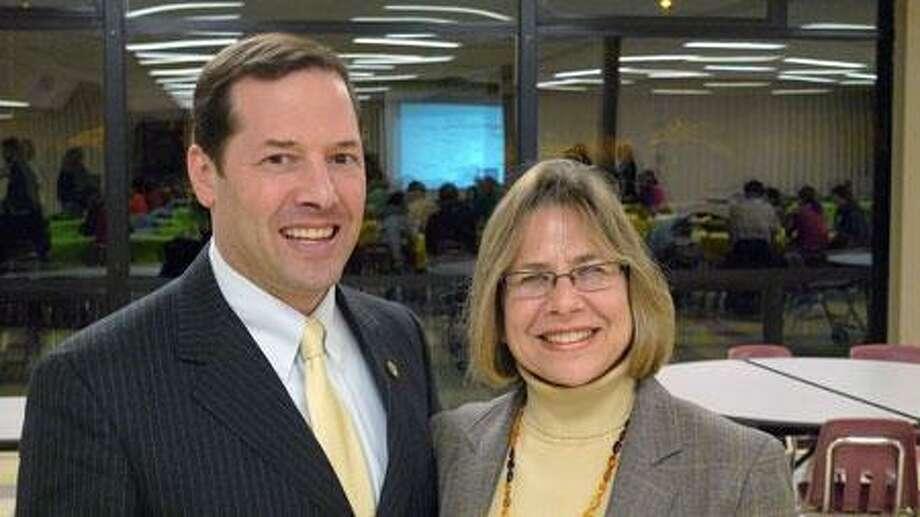 Rep. Andy Fleischmann (D) with West Hartford Public Schools Superintendent-designate Karen List. Contributed photo from Fleischmann's website.