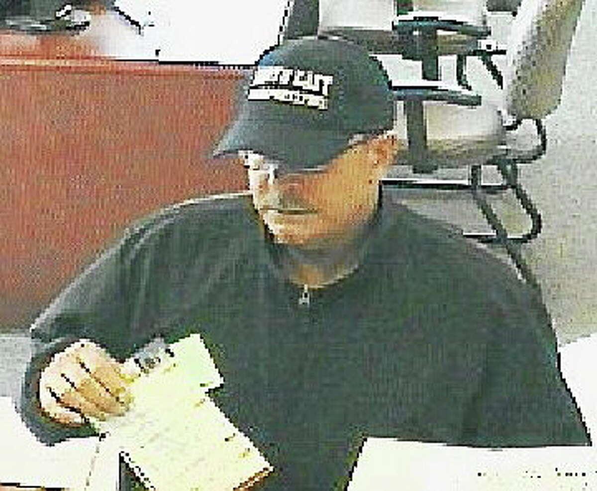 Surveillance photo of bank robbery suspect.