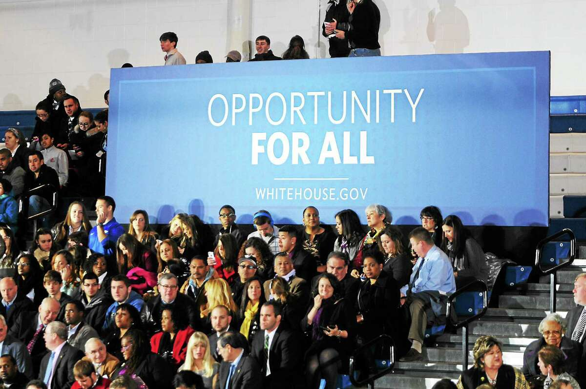 A crowd at CCSU waits for President Obama to speak Wednesday. Arnold Gold — New Haven Register