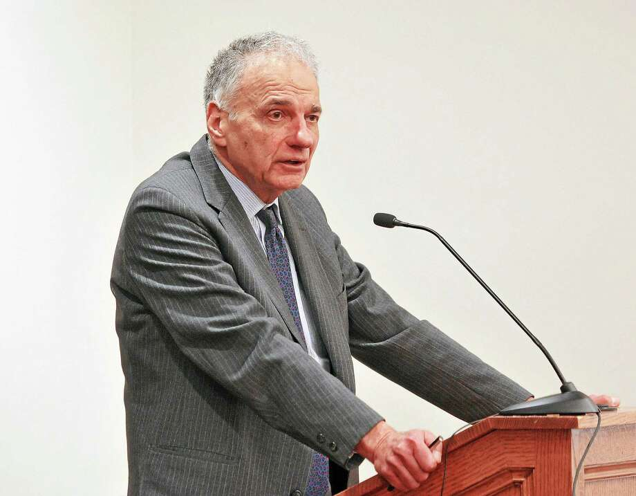 """Ralph Nader speaks during the """"Showdown for Democracy: Obama's Prosecution of Whistleblowers, Lawyers and the National Security State"""" panel discussion at Yale Law School Tuesday in New Haven. Photo: Peter Casolino — New Haven Register"""