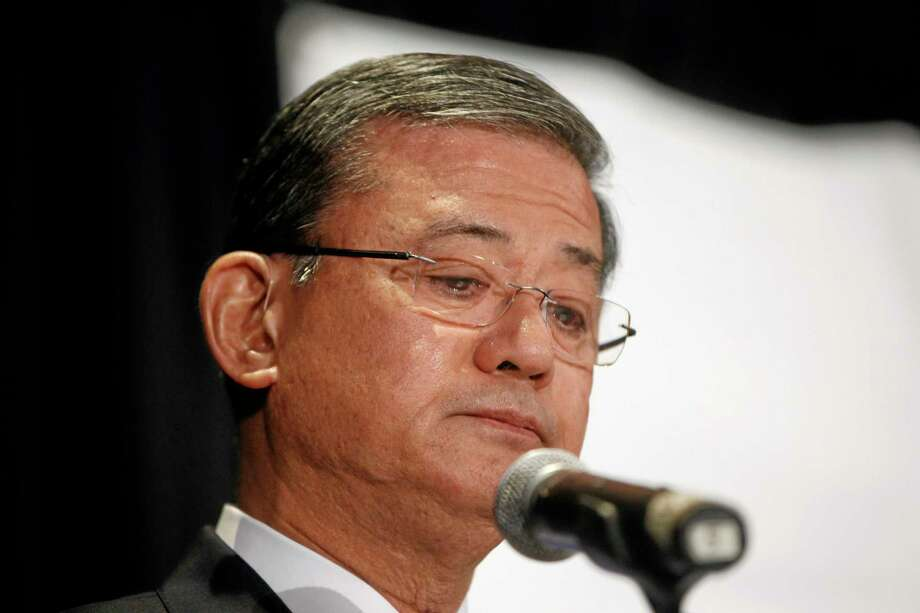 Veterans Affairs Secretary Eric Shinseki pauses as he speaks at a meeting of the National Coalition for Homeless Veterans, Friday, May 30, 2014. Photo: Charles Dharapak — The Associated Press  / AP