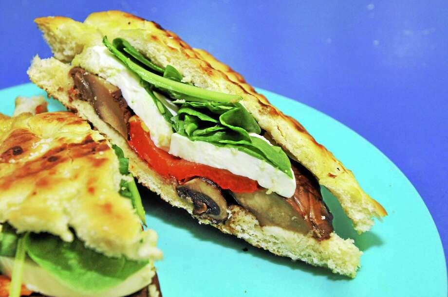 Roasted portobello with fresh mozzarella panini/focaccia. Photo: Photo By Laurie Gaboardi