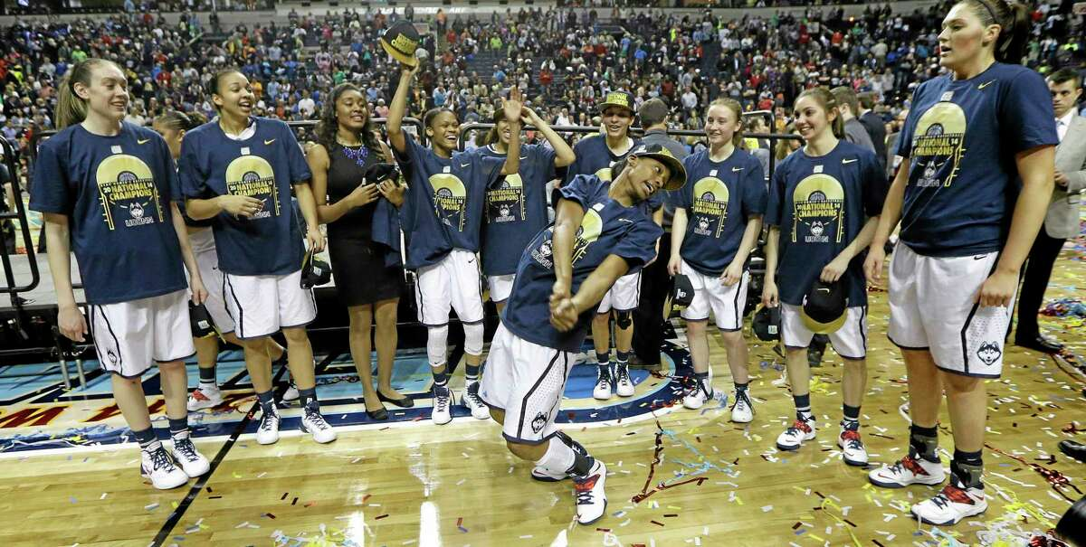 UConn celebrates its 79-58 win over Notre Dame in the national championship game on Tuesday night in Nashville, Tenn.