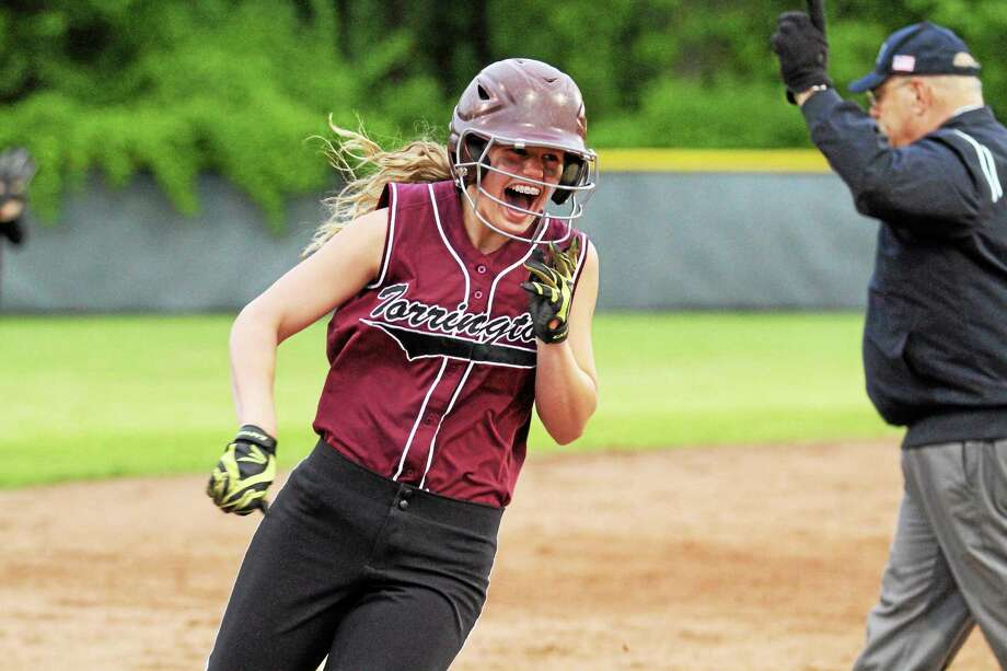 Torrington's Brittany Anderson rounds third on her solo home run in the bottom of the fifth. Torrington defeated Naugatuck 6-0 and will play Seymour in the NVL Championship game. Photo: Marianne Killackey — Special To The Register Citizen  / 2013