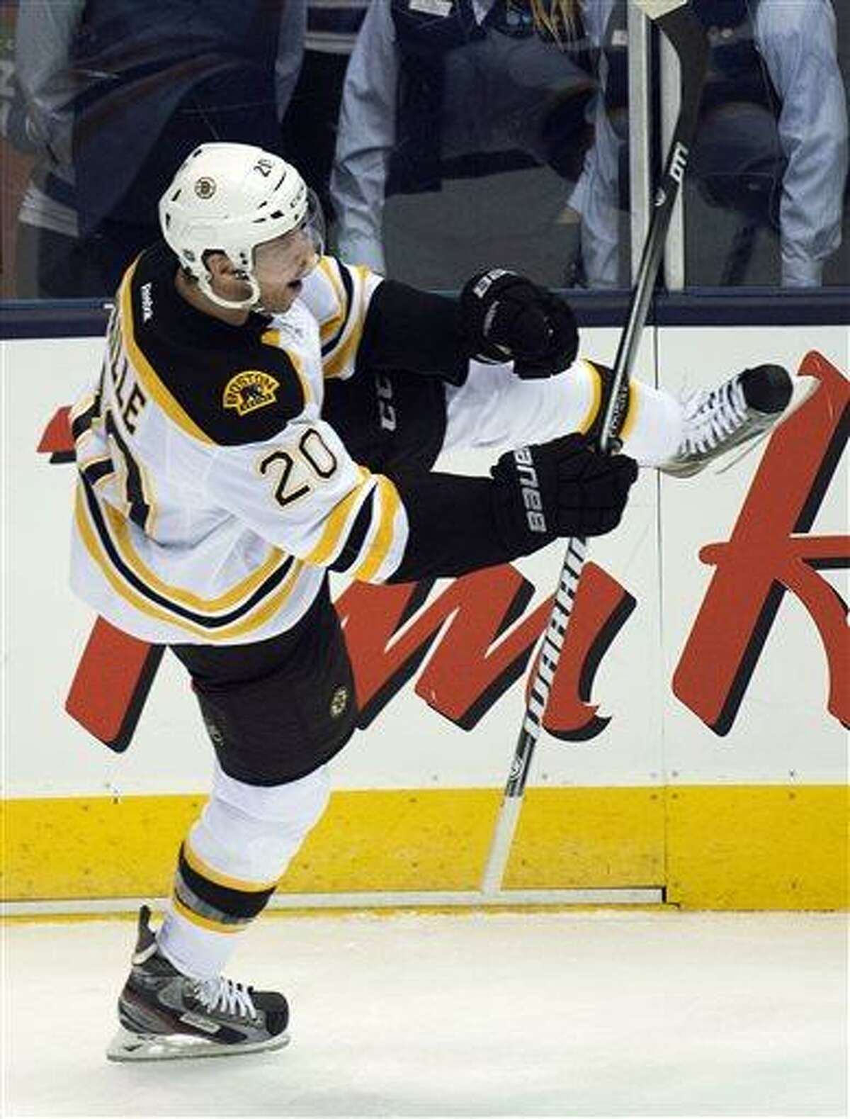 Boston Bruins forward Daniel Paille celebrates his goal against the Toronto Maple Leafs during the second period of Game 3 of their first-round NHL hockey Stanley Cup playoff series, Monday, May 6, 2013, in Toronto. (AP Photo/The Canadian Press, Nathan Denette)