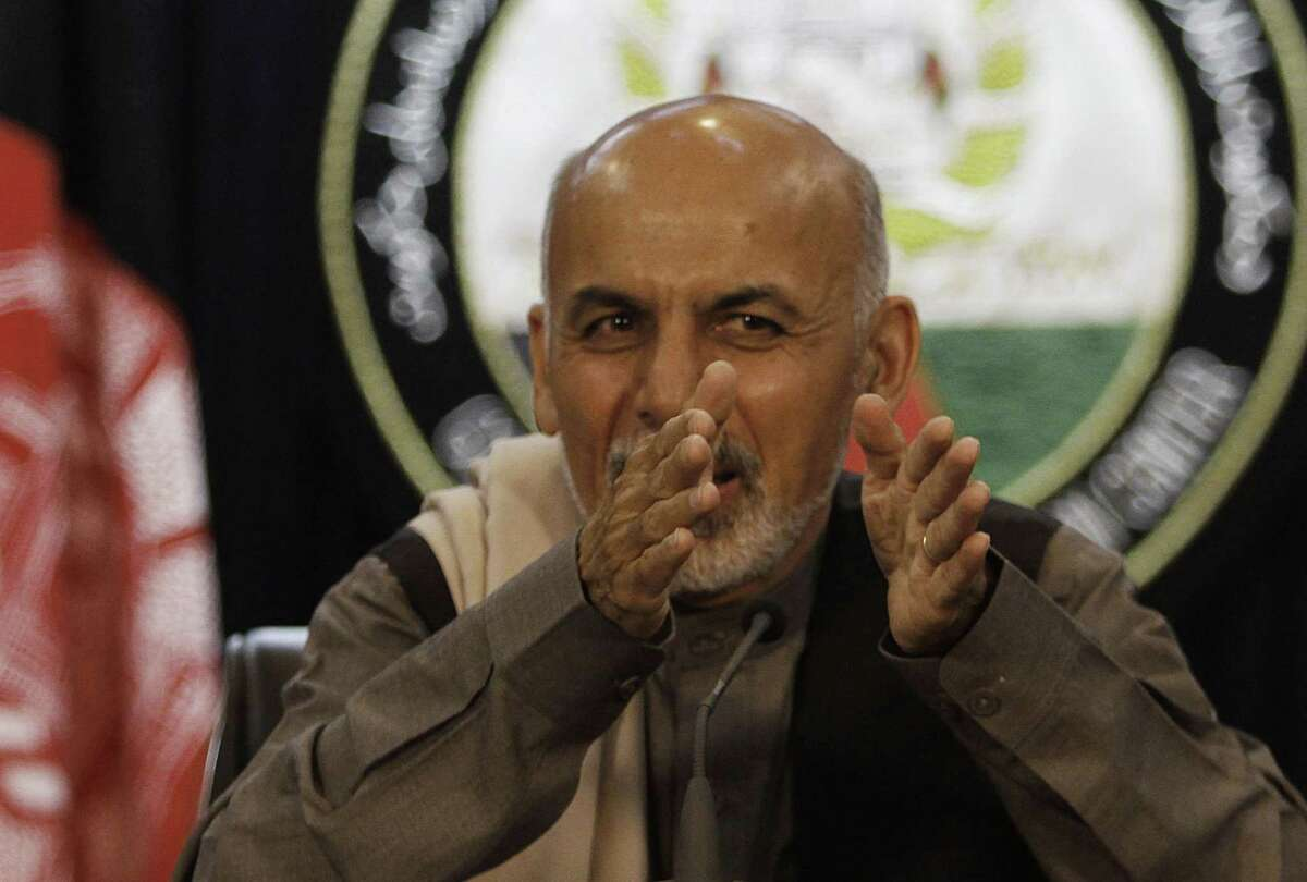 Ashraf Ghani, who who was just elected president in Afghanistan, gestures in this 2012 file photo.