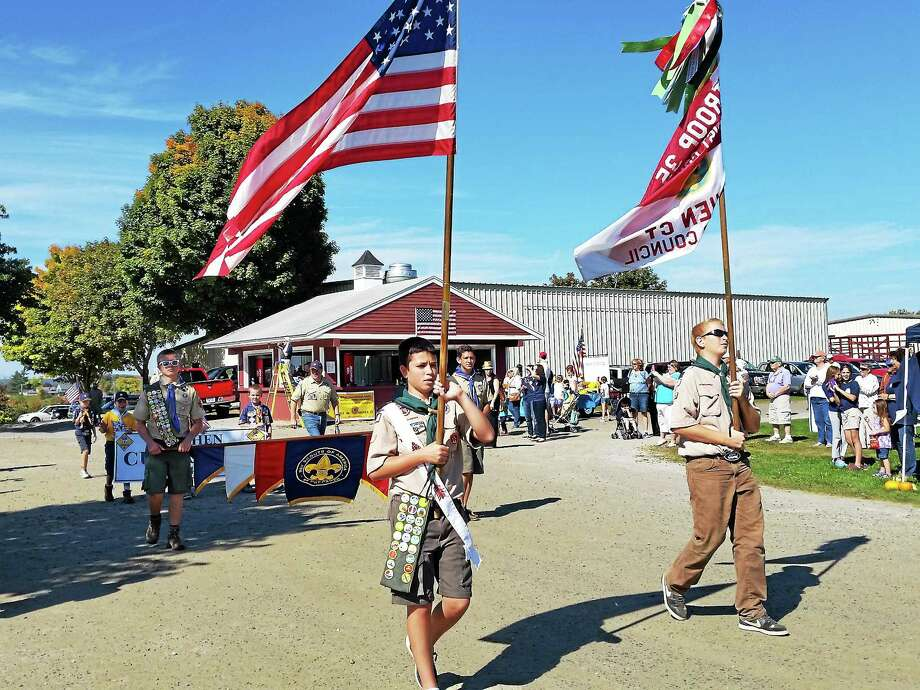 Boy Scouts' Troop 35 of Goshen march in the parade during Goshen's 275th Anniversary at Goshen Fairgrounds on Sunday. Photo: N.F. Ambery — Special To The Register Citizen