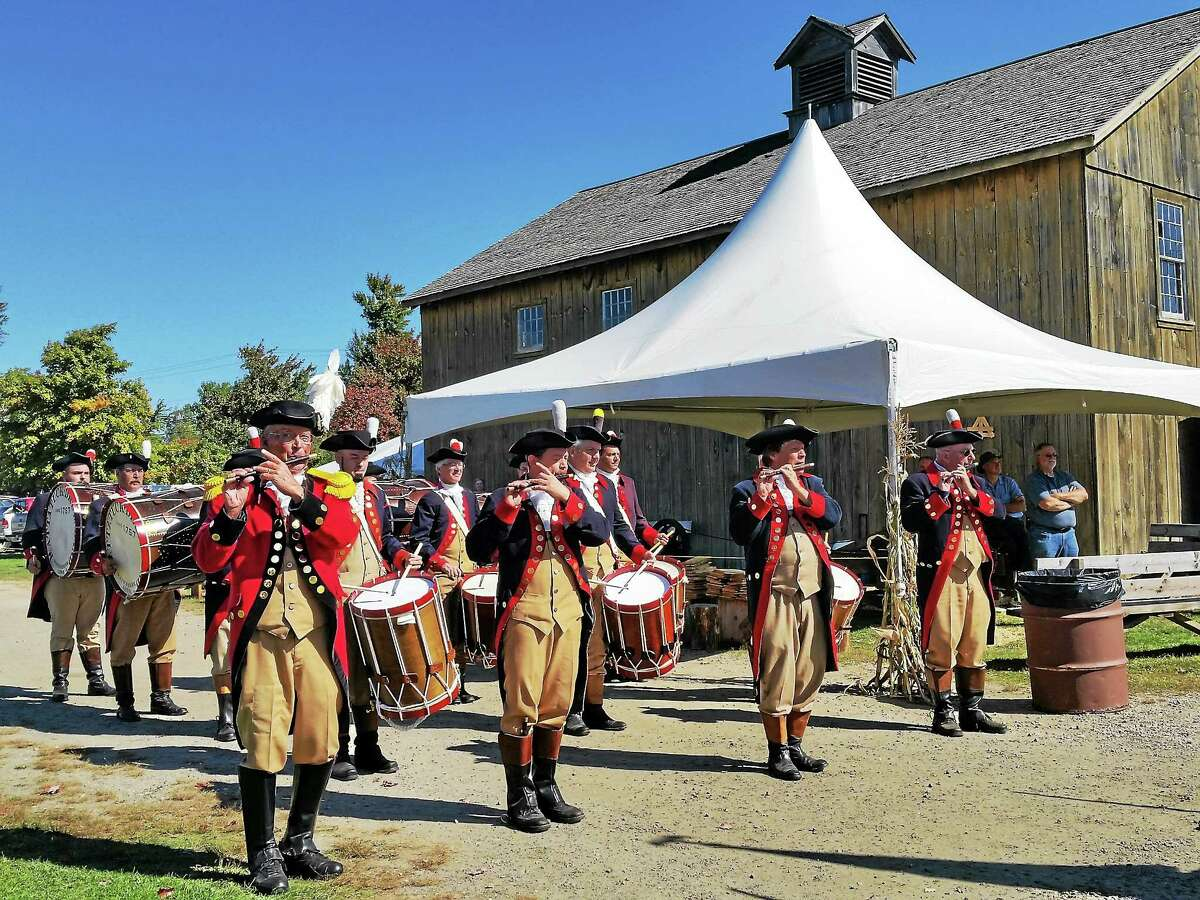 The Mattatuck Drum Band performs in historic garb at Goshen's 275th Anniversary at Goshen Fairgrounds on Sunday