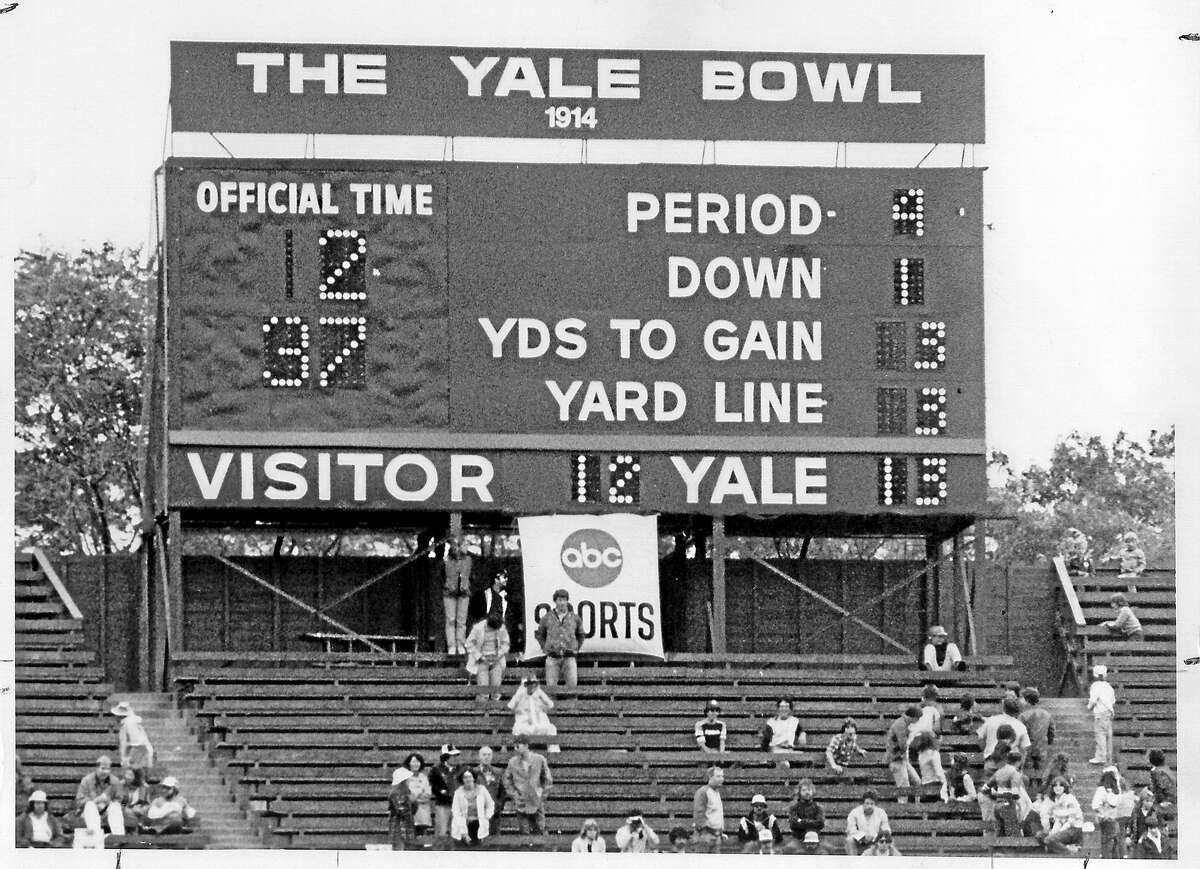 The scoreboard at the Yale Bowl.