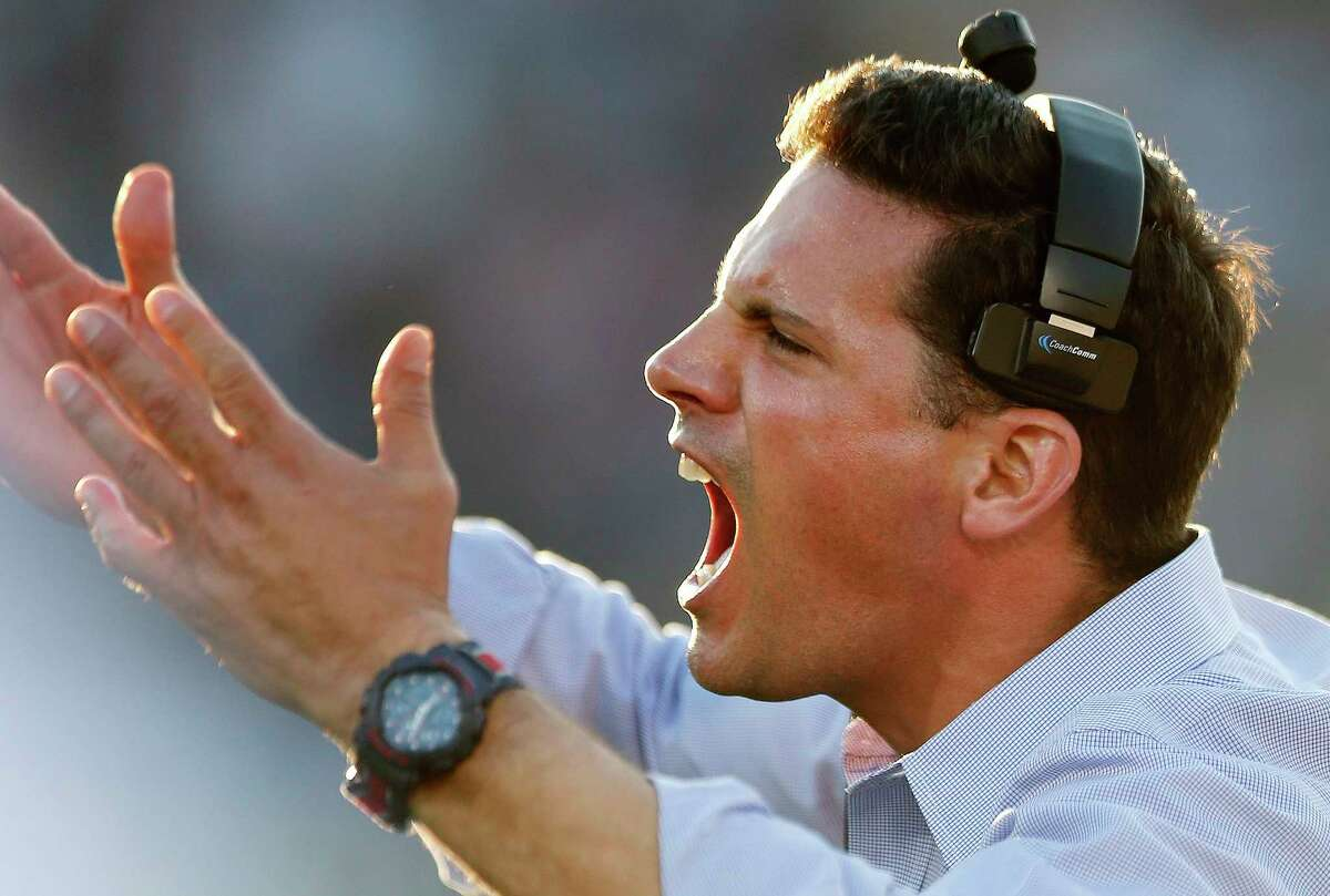 UConn coach Bob Diaco yells from the sidelines during the third quarter of Saturday's loss to Temple at Rentschler Field.