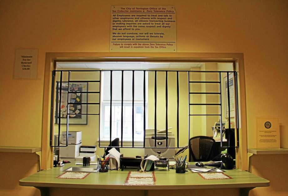 The tax collector's office at Torrington City Hall. Photo: Esteban L. Hernandez—Register Citizen