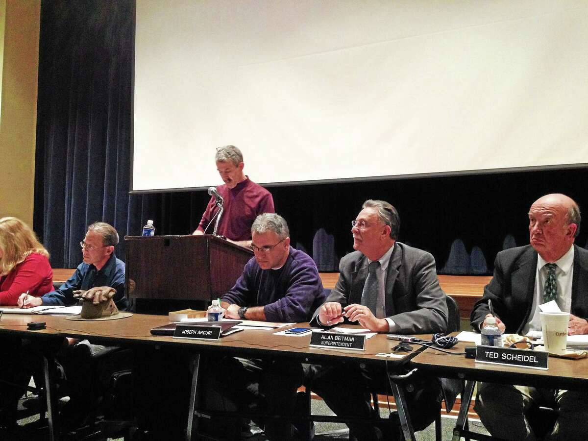 Region 10 Board of Education members, including Ted Scheidel, who passed away in January, listened to resident comments at a public hearing on Dec. 10.