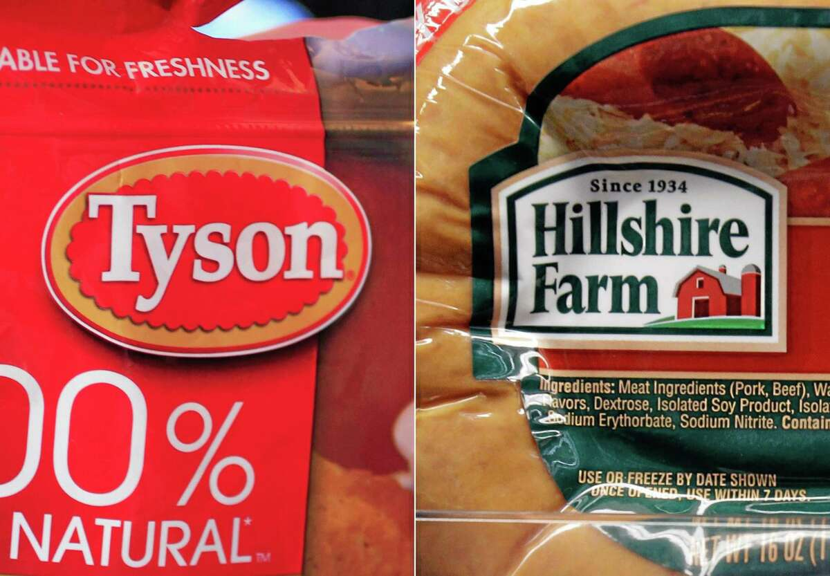 This combo made with file photos shows a package of frozen Tyson Chicken Nuggets, left, and a package of Hillshire Farm sausage, in Palo Alto, Calif. Two days after poultry producer Pilgrim's Pride made a $5.58 billion dollar bid for the maker of Ball Park hot dogs and Jimmy Dean sausages, Tyson Foods Co. on Thursday, May 29, 2014 sweetened the pot with a $6.2 billion offer. The deal sent Hillshire shares up 14 percent in premarket trading.