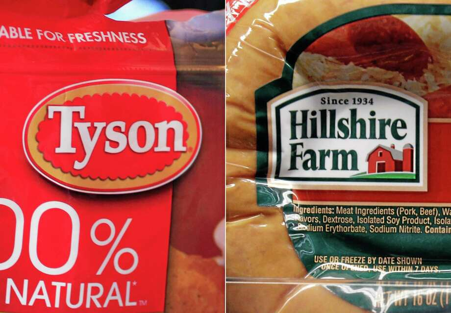 This combo made with file photos shows a package of frozen Tyson Chicken Nuggets, left, and a package of Hillshire Farm sausage, in Palo Alto, Calif. Two days after poultry producer Pilgrim's Pride made a $5.58 billion dollar bid for the maker of Ball Park hot dogs and Jimmy Dean sausages, Tyson Foods Co. on Thursday, May 29, 2014 sweetened the pot with a $6.2 billion offer. The deal sent Hillshire shares up 14 percent in premarket trading. Photo: THE ASSOCIATED PRESS / AP