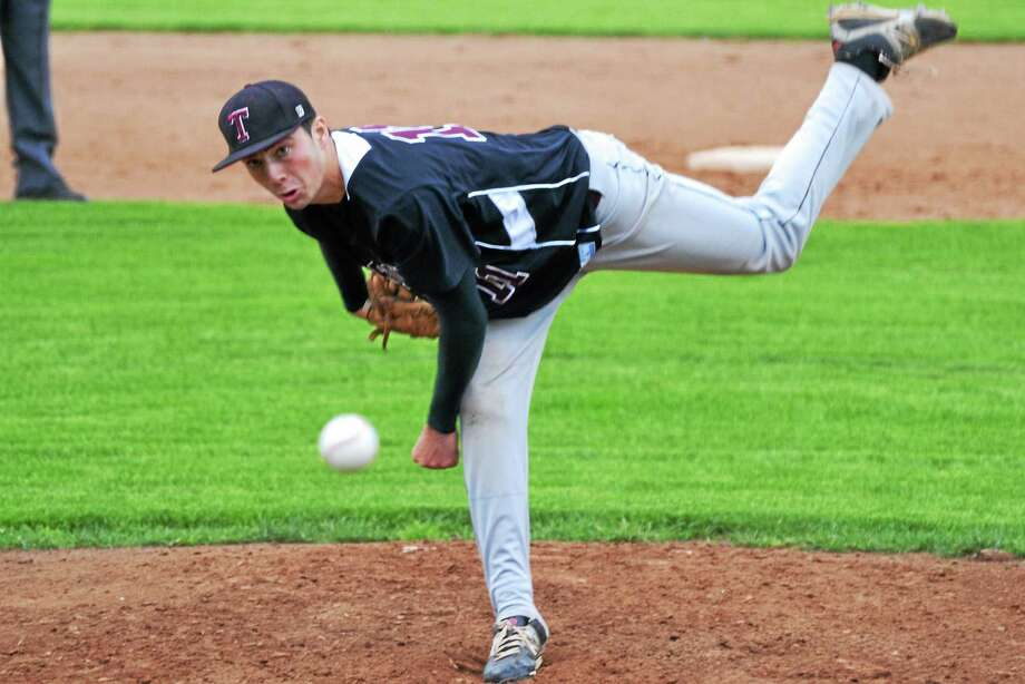 Torrington's Shane Bierfeldt allowed just two hits and struck out five batters in the Red Raiders' 2-1 loss to Holy Cross in the NVL Tournament semifinals. Photo: Pete Paguaga — Register Citizen