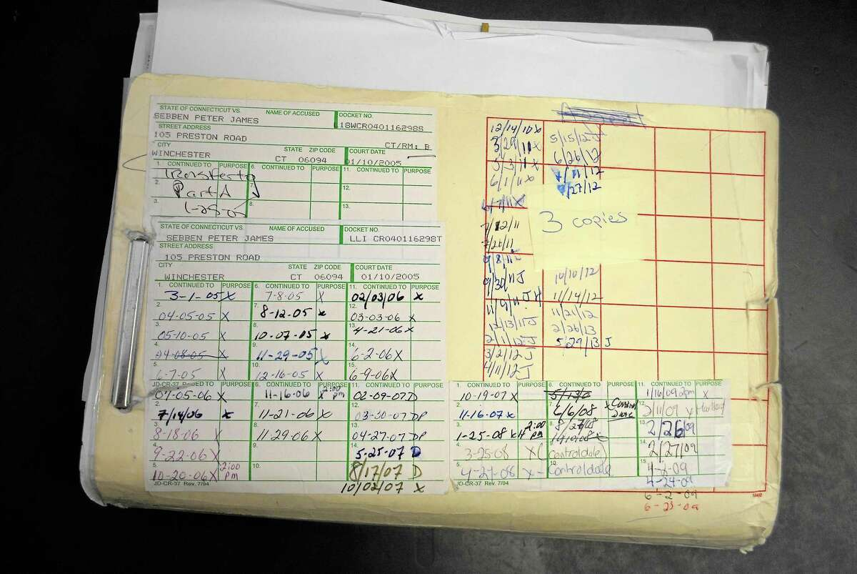 The court file for Peter Sebben that is kept at Litchfield Superior Court is overflowing with documents and lists the numerous court appearances he has made since his arrest in 2004.
