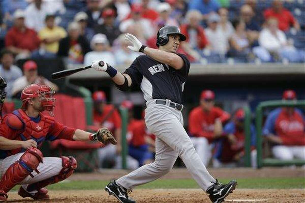 New York Yankees' Travis Hafner in action during a spring training exhibition baseball game against the Philadelphia Phillies, Tuesday, Feb. 26, 2013, in Clearwater, Fla.(AP Photo/Matt Slocum)
