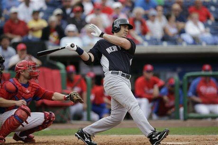 New York Yankees' Travis Hafner in action during a spring training exhibition baseball game against the Philadelphia Phillies, Tuesday, Feb. 26, 2013, in Clearwater, Fla.(AP Photo/Matt Slocum) Photo: ASSOCIATED PRESS / AP2013