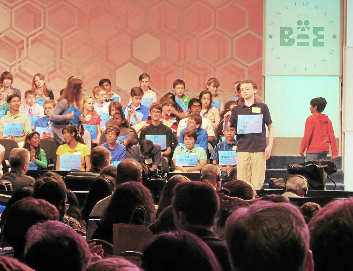 Connor Spencer, winner of the Register Citizen Spelling Bee, competes in the national bee in Washington, D.C.
