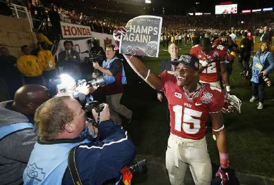 Florida State running back Ryan Green (7) celebrates after defeating Auburn University in the 2014 BCS Championship NCAA College Football game on Monday, Jan. 6, 2014 in Pasadena, Calif.