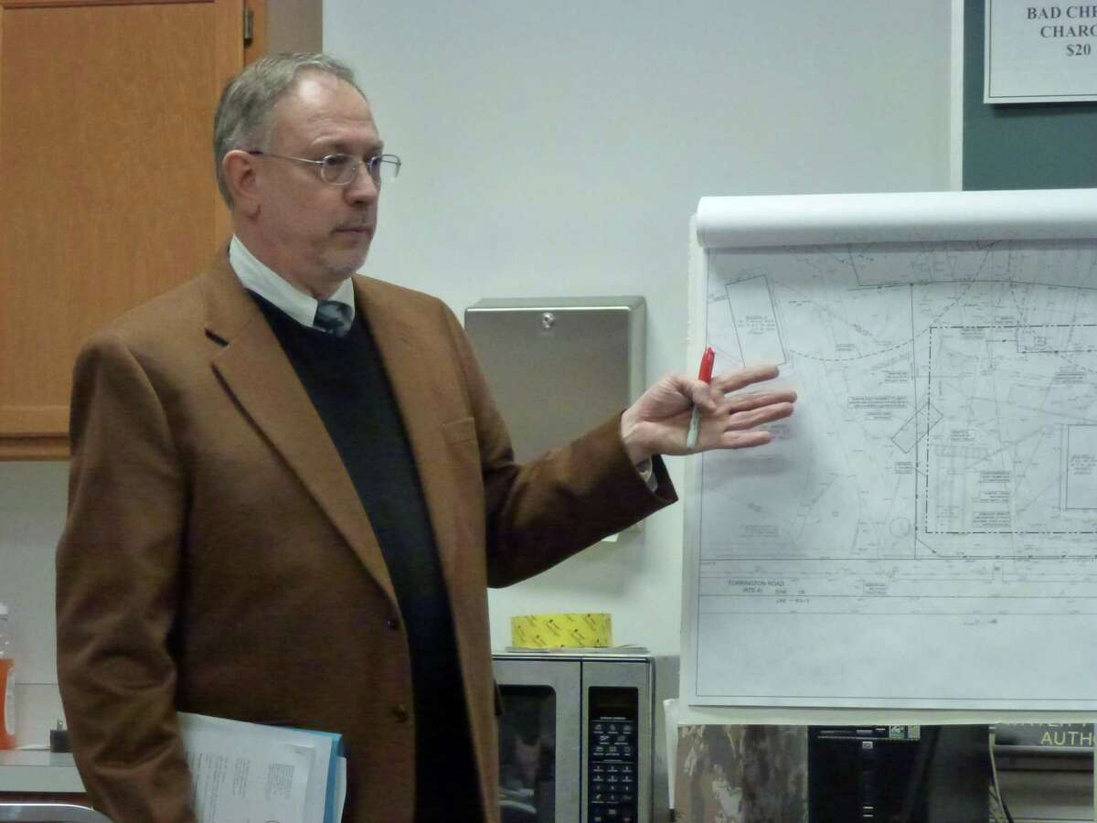 Rod Cameron, who is managing the Goshen gas station and convenience store project, presents to the town's Planning and Zoning Commission on Tuesday, Feb. 26, 2013. Ryan Flynn/Register Citizen.
