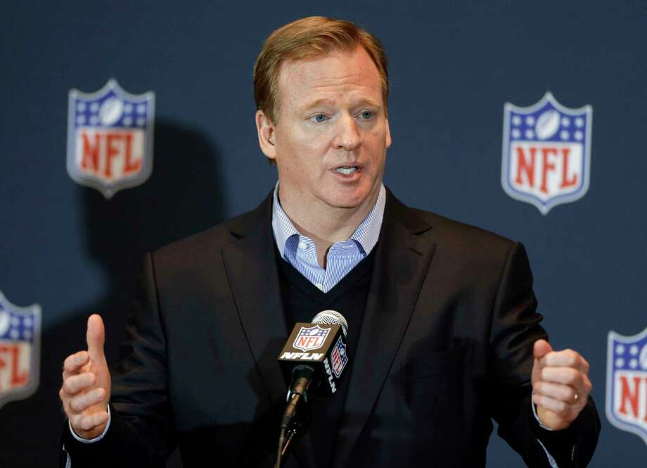 In this March 26, 2014,photo, NFL Commissioner Roger Goodell answers questions during a news conference in Orlando, Fla. Photo: AP Photo/John Raoux, File  / AP