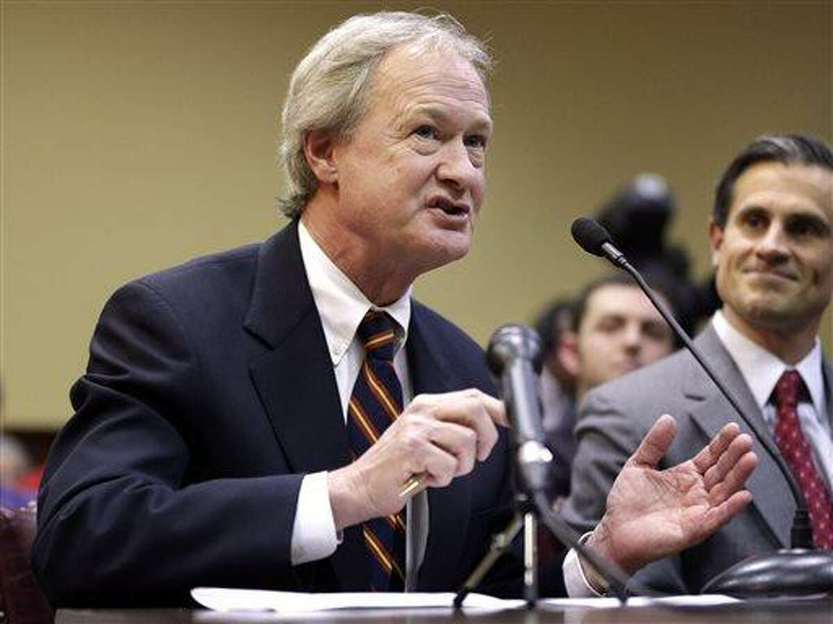 FILE - In this Jan. 15, 2013 file photo, Rhode Island Gov. Lincoln Chafee testifies in support of same-sex marriage before the House Judiciary Committee, at the Statehouse, in Providence, R.I. (AP Photo/Steven Senne, File)