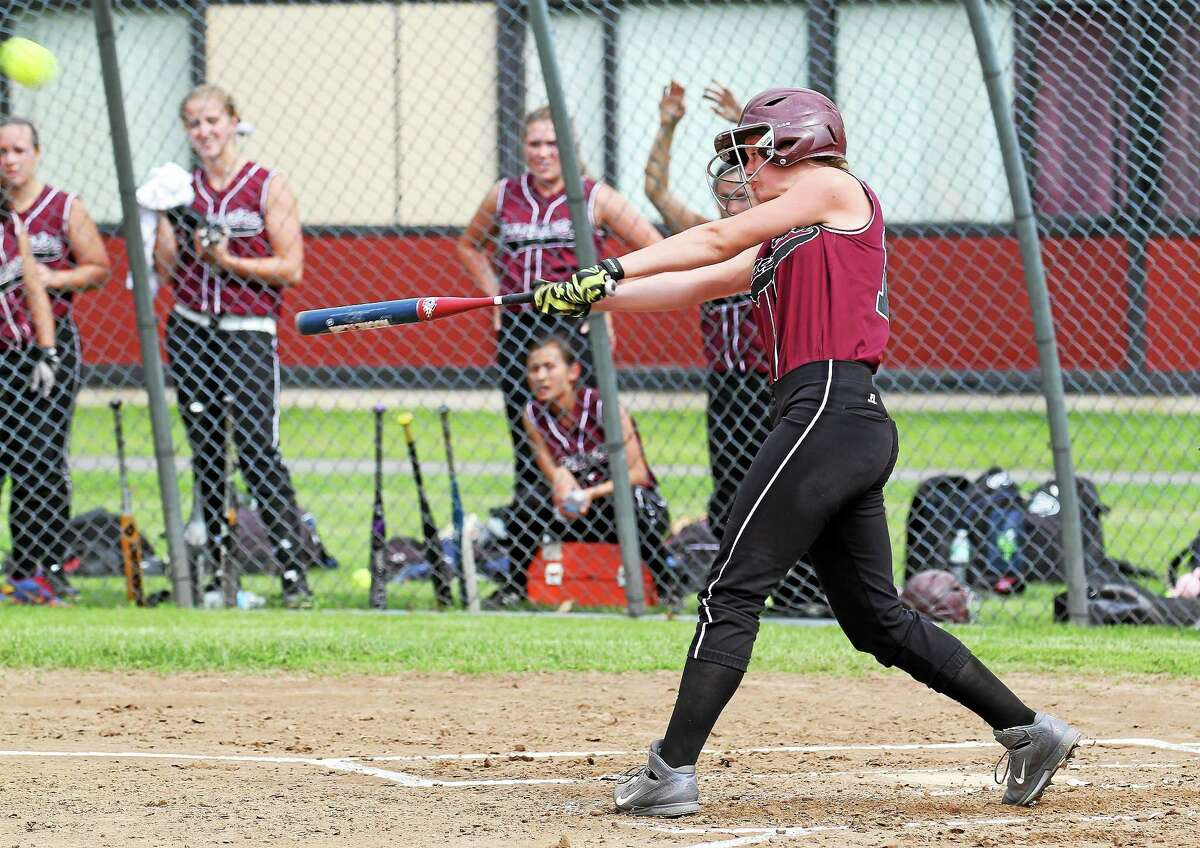 Torrington's Brittany Anderson laces a triple in the Red Raiders' 17-1 win over Kennedy in the first round of the NVL Tournament. Anderson went 3-for-4 with three runs scored.