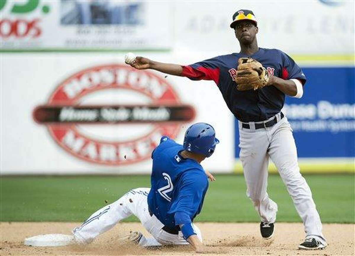 Boston Red Sox shortstop Pedro Ciriaco, right, forces out Toronto Blue Jays relief runner Ryan Goins, left, at second base during the fifth inning of a spring training baseball game in Dunedin, Fla., on Monday, Feb. 25, 2013. (AP Photo/The Canadian Press, Nathan Denette)