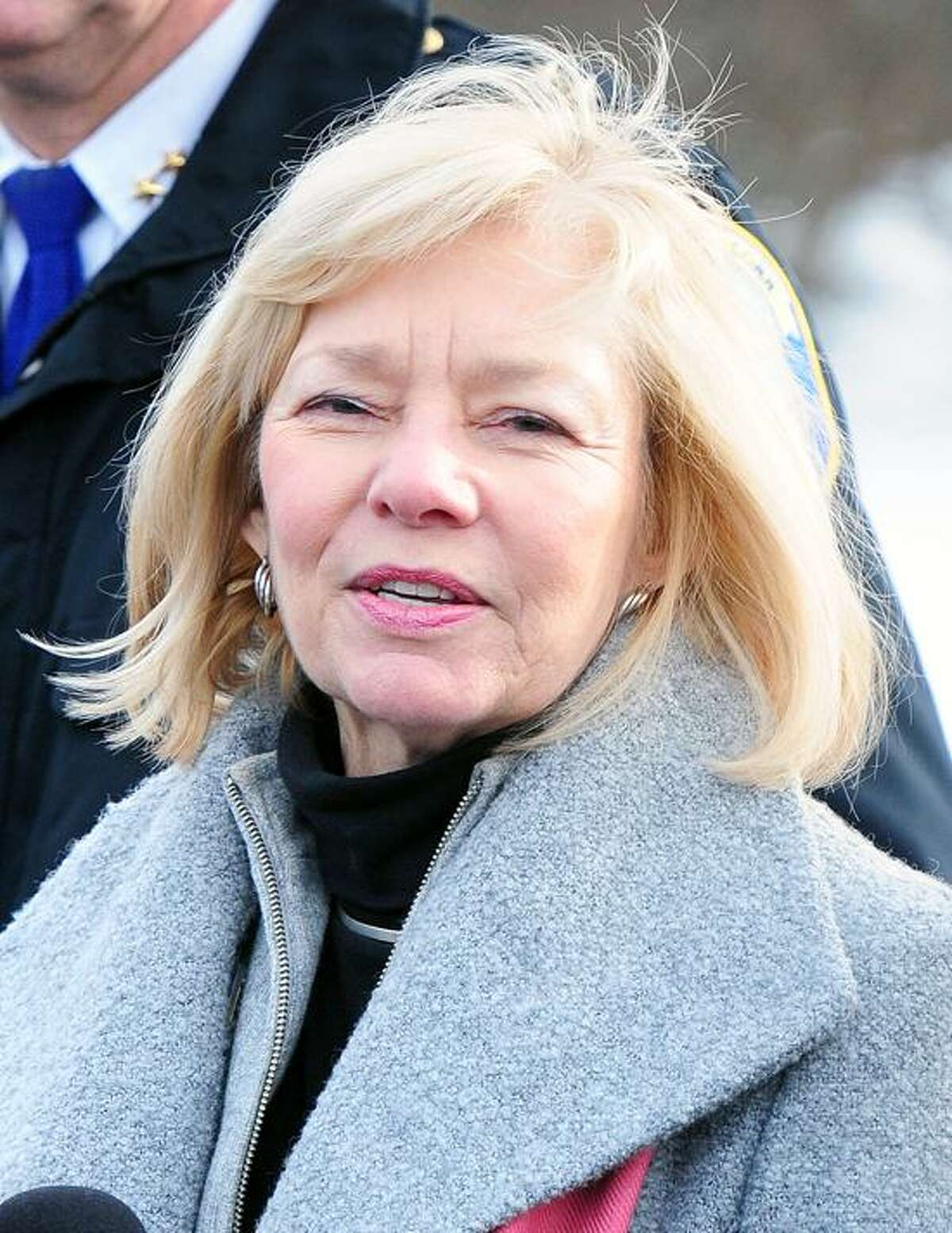 Newtown Superintendent of Schools Janet Robinson speaks to the press at Wolfe Park in Monroe about the new Sandy Hook Elementary School in Monroe on 1/2/2013. Behind her is Newtown Police Chief Michael Kehoe.Photo by Arnold Gold/New Haven Register