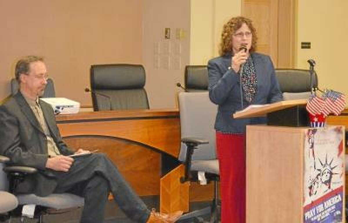 The Rev. Angie Boratko speaks during a National Prayer Day event at Torrington City Hall on Thursday, May 2.