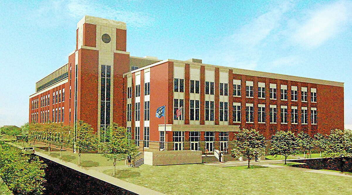 A rendering of the new $81.4 million state courthouse facility set to be built on Field Street in Torrington.