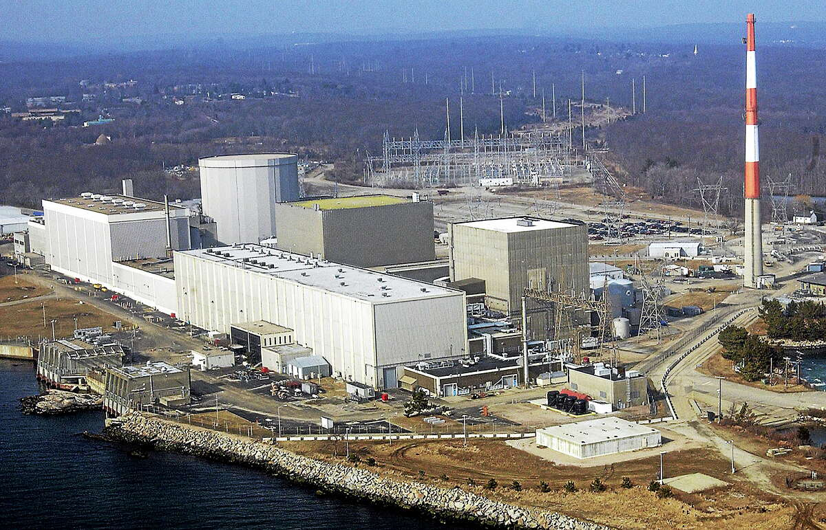 An aerial photo shows the Millstone nuclear power facility in Waterford, Conn.
