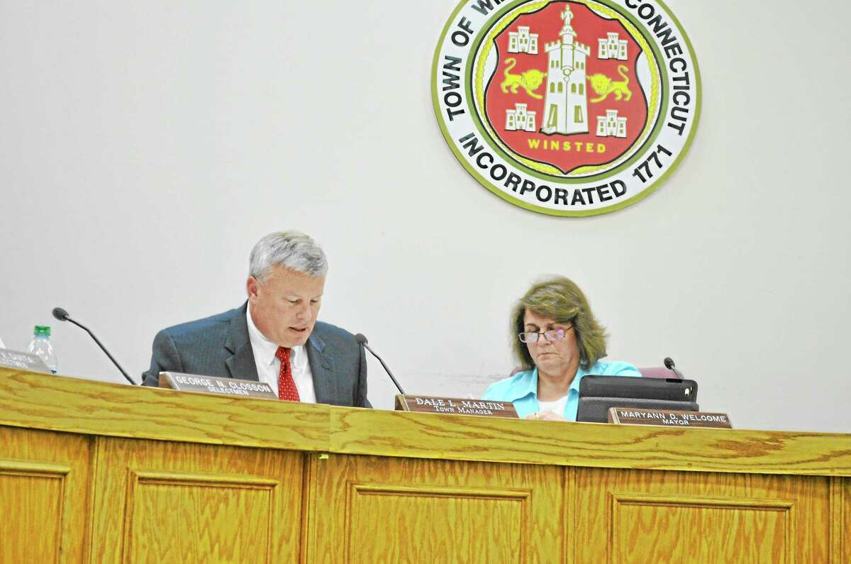 Winsted Town Manager Dale Martin at a Board of Selectmen meeting Tuesday. Martin spoke about the arrest of the town's former finance director, Henry Centrella, during a Torrington-Winsted Rotary Club meeting earlier in the day.