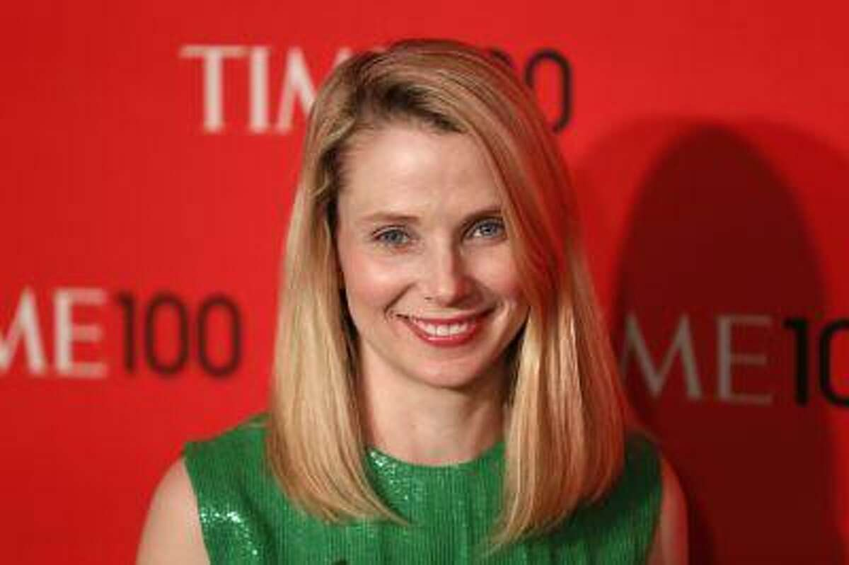 President and CEO of Yahoo, Marissa Mayer, arrives for the Time 100 gala celebrating the magazine's naming of the 100 most influential people in the world for the past year, in New York, April 23, 2013.