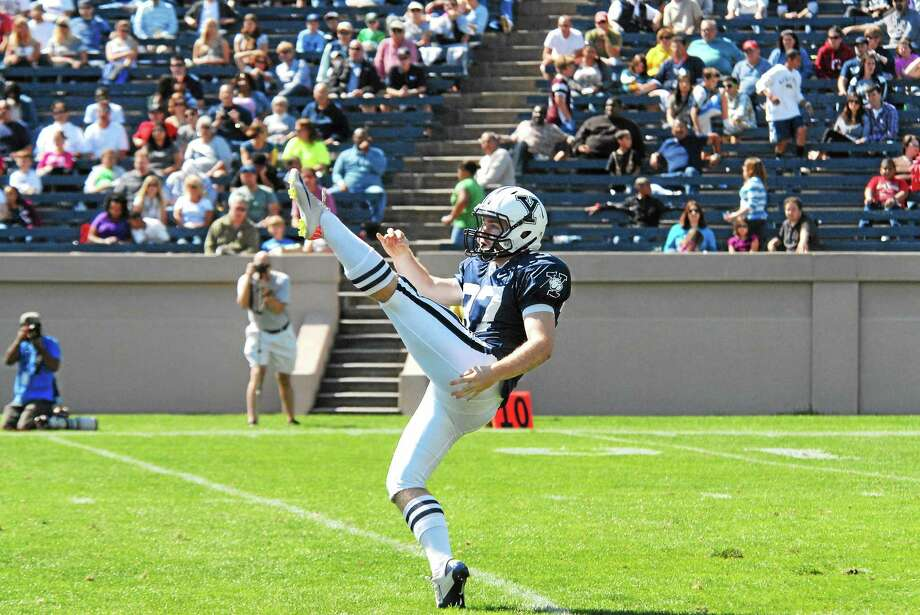 Yale kicker Kyle Cazzetta was close to attending West Point and becoming a member of the Army football team. He changed his mind at the last minute and this Saturday will emerge from the home locker room at Yale Bowl to take on the Black Knights. Photo: Photo Courtesy Of Yale Athletics