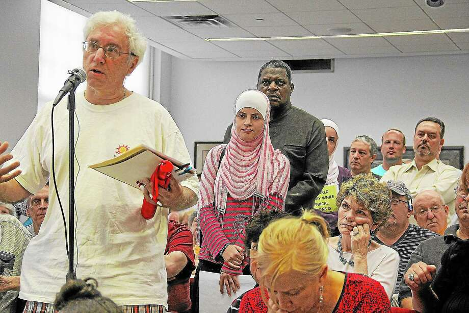 West Hartford area residents speak at a forum hosted by U.S. Rep John Larson at town hall Monday night. Photo: Kathleen Schassler — West Hartford News