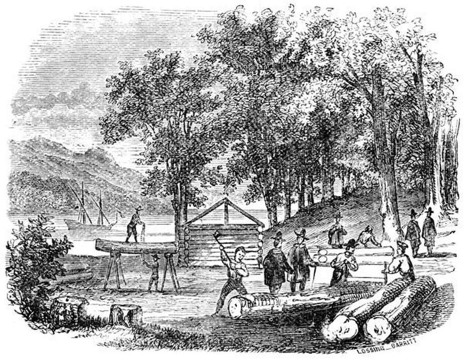Sketch of colonists building Jamestown, Va., settlement