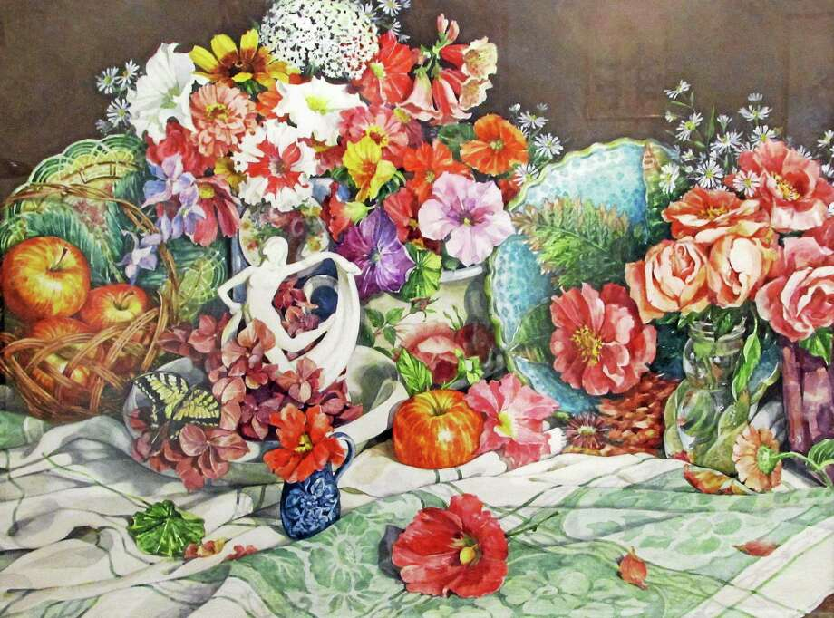 """Submitted image courtesy of the artist Lorraine Ryan's """"Butterfly Dance"""" painting is the recipient of the Best in Show this year's senior juried art show at Pomperaug Woods in Southbury. Photo: Journal Register Co."""