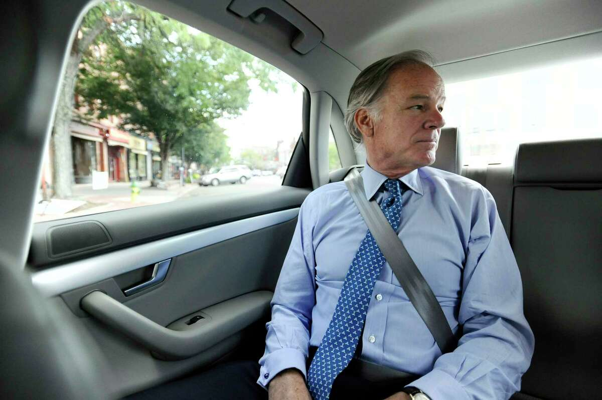 Republican candidate for Connecticut governor Tom Foley rides during a campaign stop, Thursday, Sept. 18, 2014, in Middletown, Conn.
