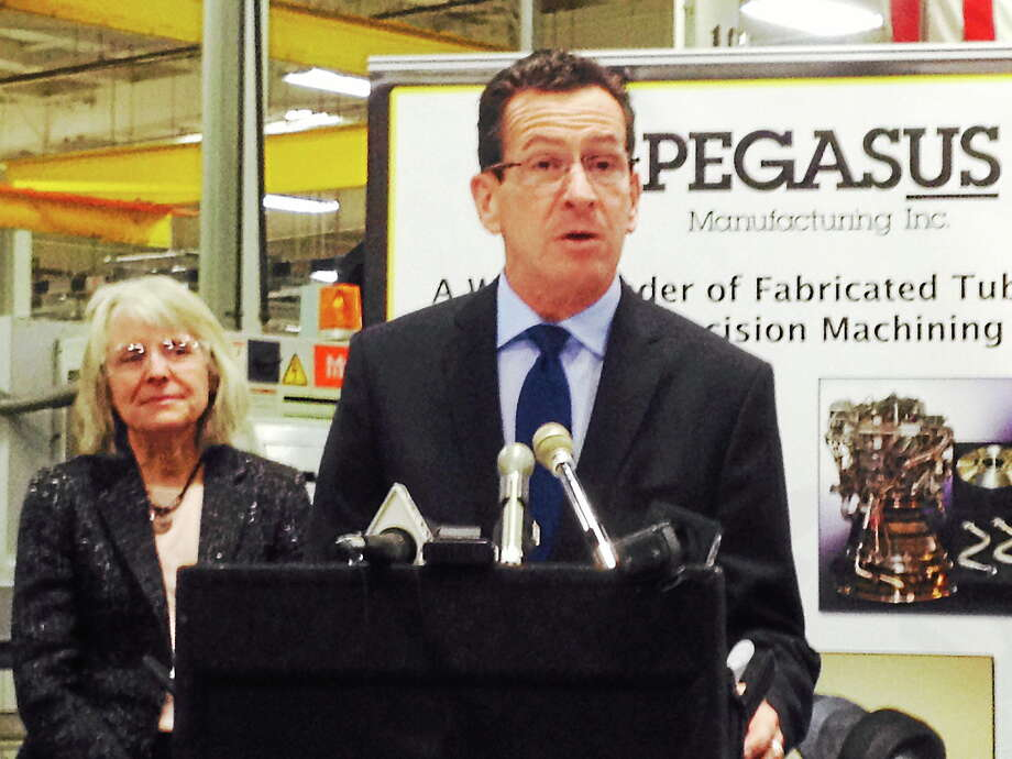 Gov. Dannel P. Malloy speaks on the unveiling of a new Advanced Manufacturing Fund to assist state manufacturers at the Pegasus Manufacturing facility Wednesday in Middletown. Photo: Michael T. Lyle Jr. — The Middletown Press