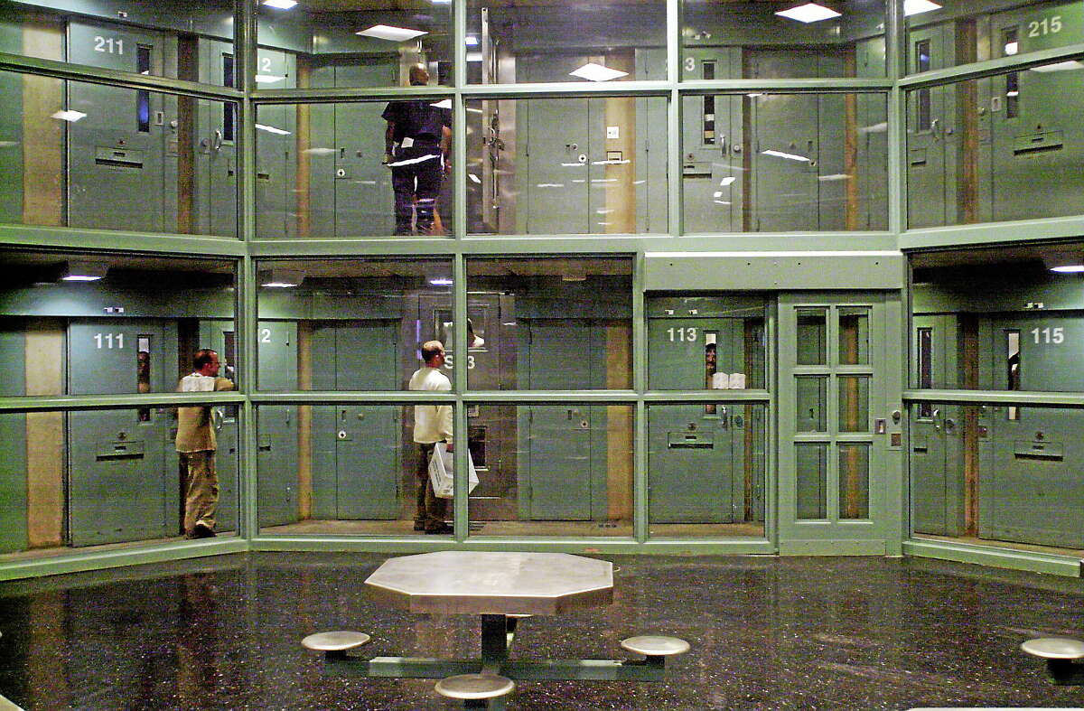 An empty day room area can be seen with prisoner cells above at the Connecticut Supermax facility where death row and the most dangerous inmates are housed within Northern Correctional Institution in Somers, Conn.