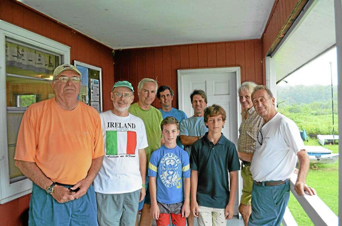 Paul Borse, Denis Williamson, Michael Luskin, Carmine Gugliotti and other Bantam Lake Yacht Club members celebrate the club's 80th birthday on Sunday.
