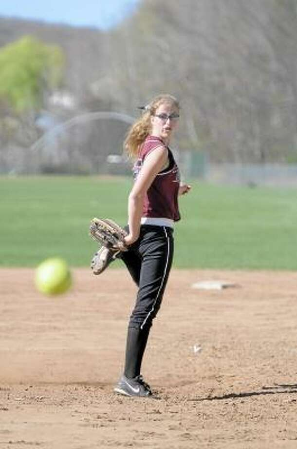 Torrington's Sydney Matzko throws a pitch to a Wolcott hitter. The Raiders defeated Wolcott 3-0. Photo by Laurie Gaboardi/Register Citizen