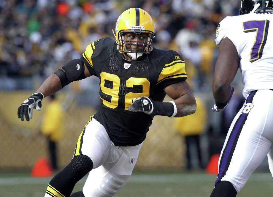 Linebacker James Harrison (92) will unretire and rejoin the Pittsburgh Steelers. Photo: Keith Srakocic — The Associated Press File Photo  / AP