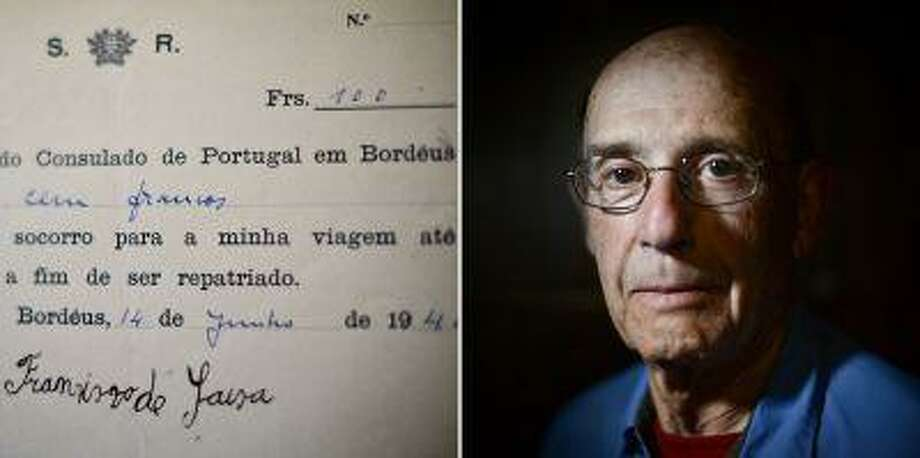 "A combination of pictures taken on June 21, 2013 shows Lee Sterling posing at the Necessidades Palace in Lisbon and a document attesting the payment of a visa signed by Aristides Sousa Mendes, then consul General of Portugal in Bordeaux. Lee is one of the four known survivors from the debacle of 1940 ""saved"" by Aristides de Sousa Mendes. Photo: AFP/Getty Images / 2013 AFP"