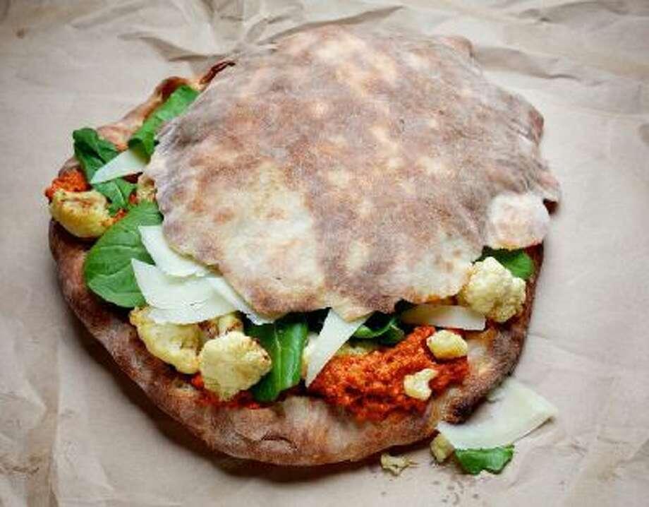 ?Wich way to roll? Here, Panino di Pizza With Cauliflower and Romesco.