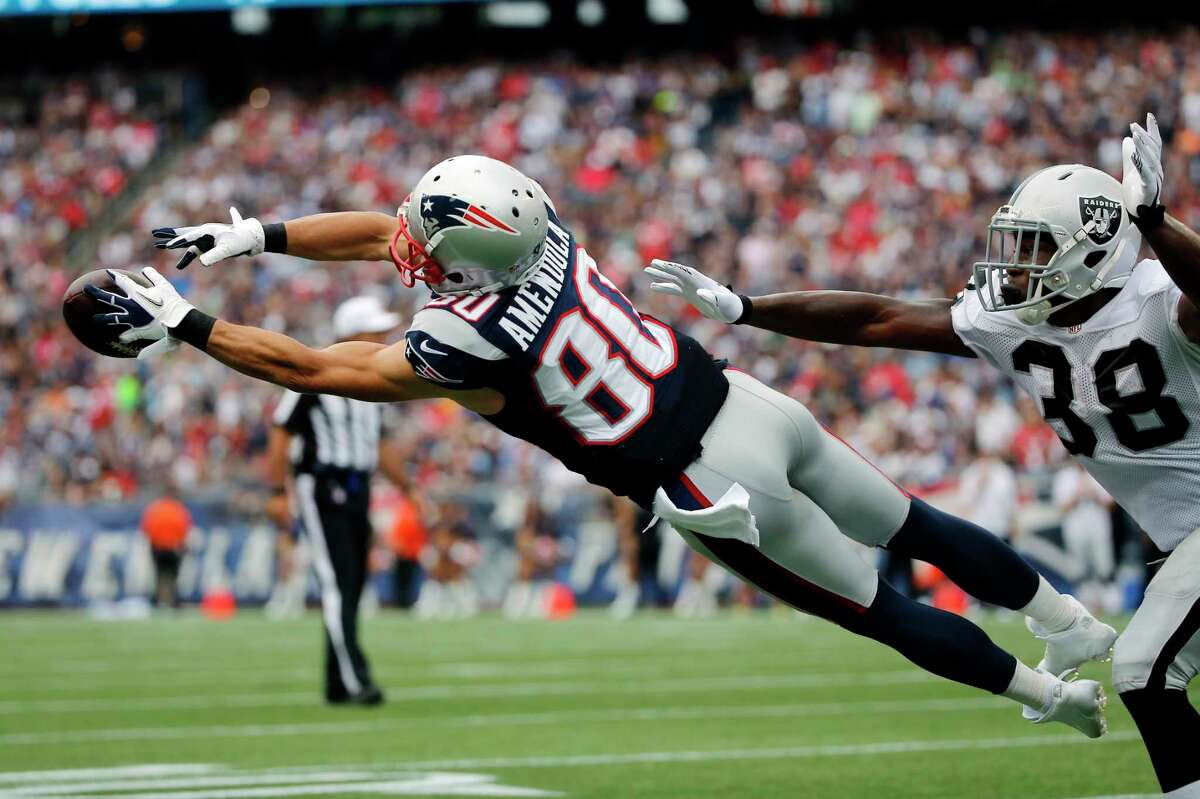 New England Patriots wide receiver Danny Amendola (80) cannot catch a pass during Sunday's game against the Raiders.