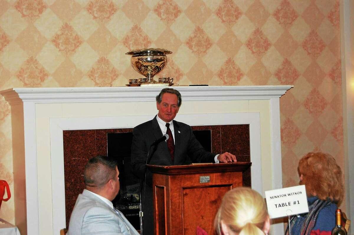 Representative John Piscopo, R-Thomaston, speaks at Litchfield County Board of Realtors Legislative Night Jan. 27.